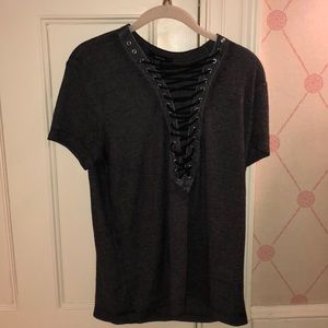 FOREVER 21 Gray & Black Lace-Up Shirt